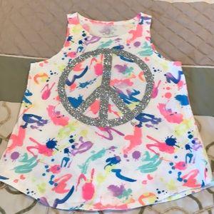 Justice sparkle peace sign tank top